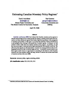 Estimating Canadian Monetary Policy Regimes - Semantic Scholar