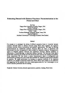 Estimating Demand with Distance Functions ... - CiteSeerX