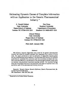 Estimating Dynamic Games of Complete ... - Editorial Express