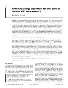 Estimating energy expenditure for brief bouts of exercise with acute ...