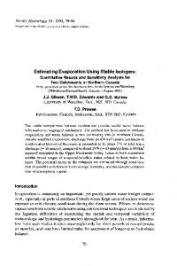 Estimating Evaporation Using Stable Isotopes: Quantitative Results ...