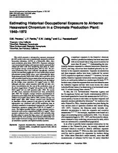 Estimating Historical Occupational Exposure to Airborne Hexavalent ...