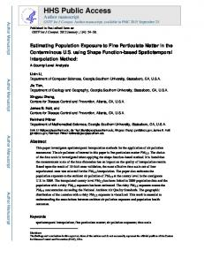 Estimating Population Exposure to Fine Particulate Matter in the