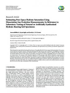 Estimating Pore Space Hydrate Saturation Using Dissociation Gas ...
