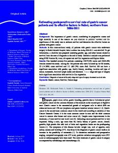 Estimating postoperative survival rate of gastric cancer patients and its ...
