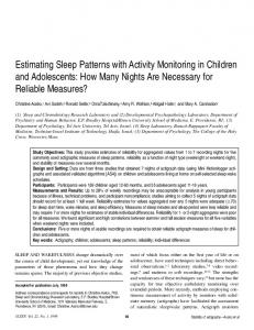 Estimating Sleep Patterns with Activity Monitoring in Children and ...