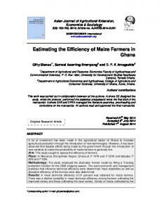 Estimating the Efficiency of Maize Farmers in ... - Journal Repository