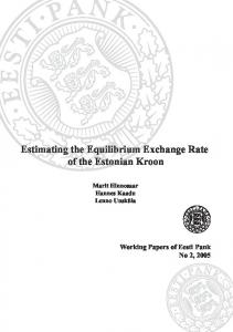 Estimating the Equilibrium Exchange Rate of Estonian ... - Eesti Pank
