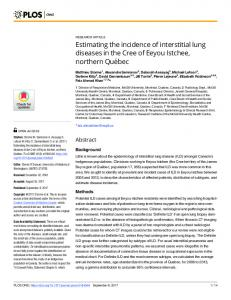 Estimating the incidence of interstitial lung diseases in the ... - PLOS
