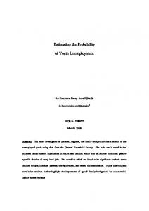 Estimating the Probability of Youth Unemployment - CiteSeerX