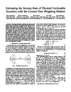 Estimating the Secrecy-Rate of Physical Unclonable ... - CiteSeerX