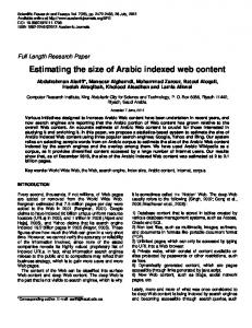 Estimating the size of Arabic indexed web content - Academic Journals