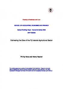 Estimating the Size of the Fiji Islands Agricultural Sector - CiteSeerX