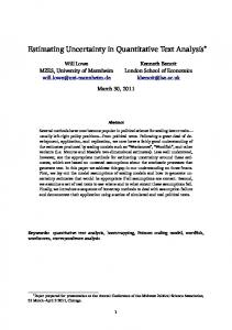 Estimating Uncertainty in Quantitative Text Analysis - Kenneth Benoit