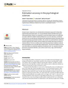 Estimation accuracy in the psychological sciences - Plos