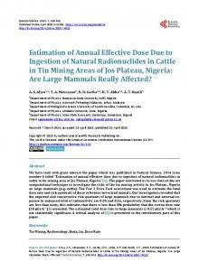 Estimation of Annual Effective Dose Due to Ingestion of Natural ...