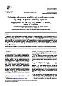Estimation of aqueous solubility of organic ...