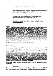 Estimation of conditionality of pork sensory quality by using ...