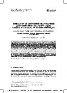 estimation of convective heat transfer coefficient from transient ... - nptel
