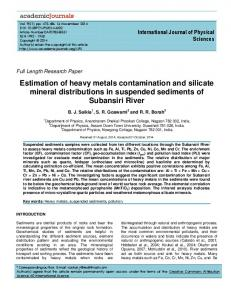 Estimation of heavy metals contamination and ... - Academic Journals