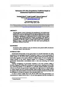 Estimation of In-Situ Groundwater Conditions Based on Geochemical ...