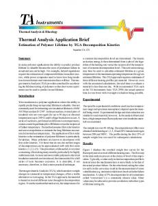 estimation of polymer lifetime by TGA decomposition ... - TA Instruments