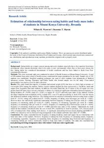 Estimation of relationship between eating habits and body mass index ...