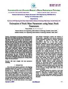 Estimation of Rock Mass Parameters using Intact Rock ... - IJIRSET