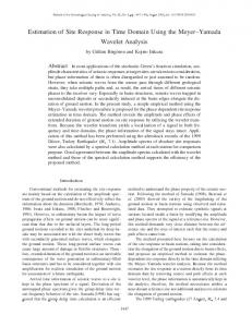 Estimation of Site Response in Time Domain Using the ... - CiteSeerX