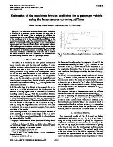 Estimation of the Maximum Friction Coefficient for a Passenger ...