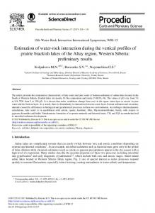 Estimation of Water-rock Interaction during the ... - Science Direct