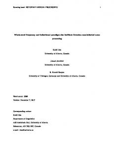 ESTONIAN LEXICAL PROCESSING 1 Whole ... - University of Alberta