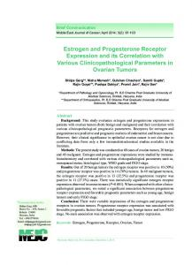 Estrogen and Progesterone Receptor Expression and ...