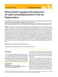 Ethanol down regulates the expression of myelin