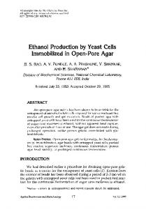 Ethanol Production by Yeast Cells Immobilized in Open-Pore Agar