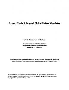 Ethanol Trade Policy and Global Biofuel Mandates - AgEcon Search