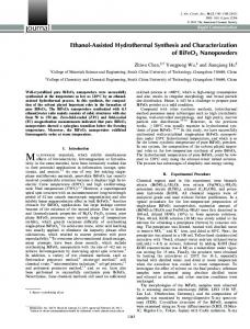 EthanolAssisted Hydrothermal Synthesis and ... - Wiley Online Library