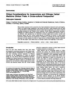 Ethical Considerations for Acupuncture and Chinese ... - BioMedSearch