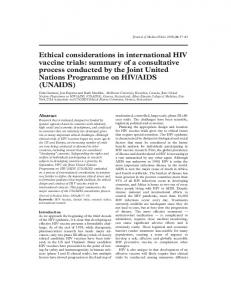 Ethical considerations in international HIV vaccine trials - Europe PMC