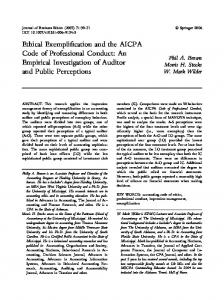Ethical Exemplification and the AICPA Code of Professional Conduct ...