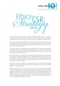 Ethics and CSR: The Strategy Debate