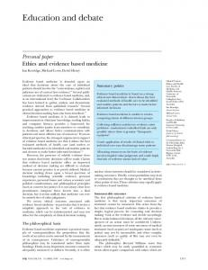 Ethics and evidence based medicine
