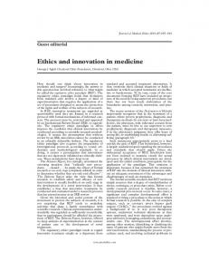 Ethics and innovation in medicine - Europe PMC