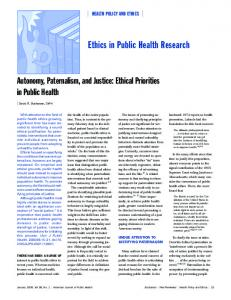 Ethics in Public Health Research - Semantic Scholar