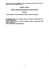Ethics in research and publication of research articles