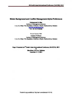 Ethnic Background and Conflict Management Styles ...