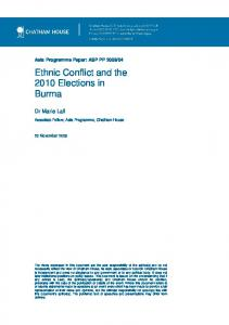 Ethnic Conflict and the 2010 Elections in Burma - Marie Lall