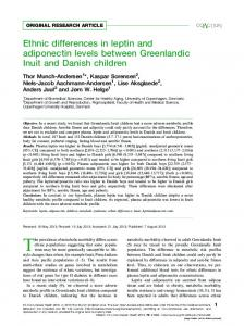 Ethnic differences in leptin and adiponectin levels between ...