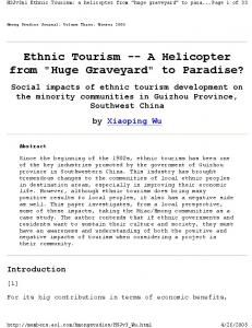 Ethnic Tourism -- A Helicopter from
