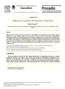 Ethnicity as Social Fact and Symbolic Construction - ScienceDirect.com